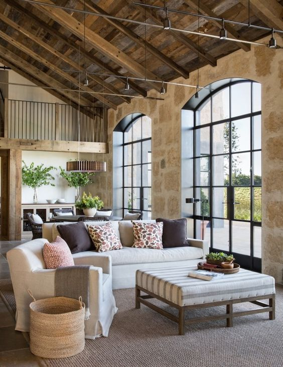 traditional living room in a barn attic space