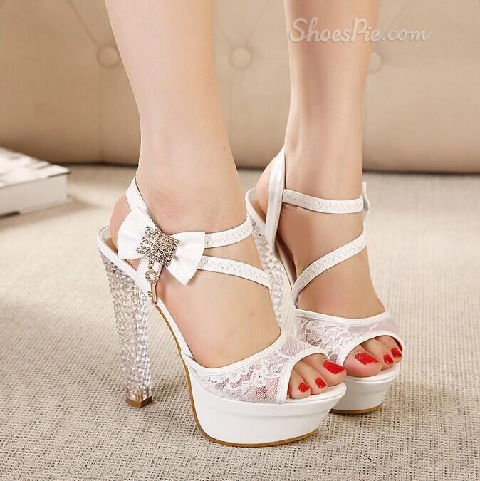 Noble Peep Toe Lace Rhinestone Dress  Sandals