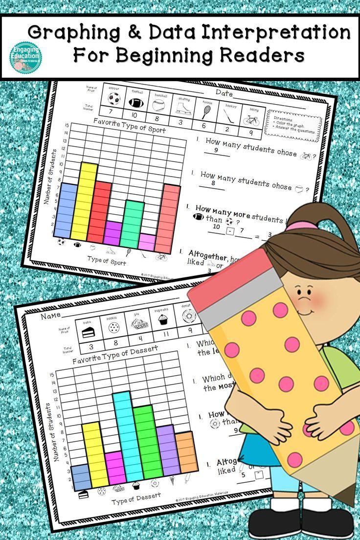 Graphing Data Interpretation For Beginning Readers Graphing First Grade Math Math Resources [ 1104 x 736 Pixel ]