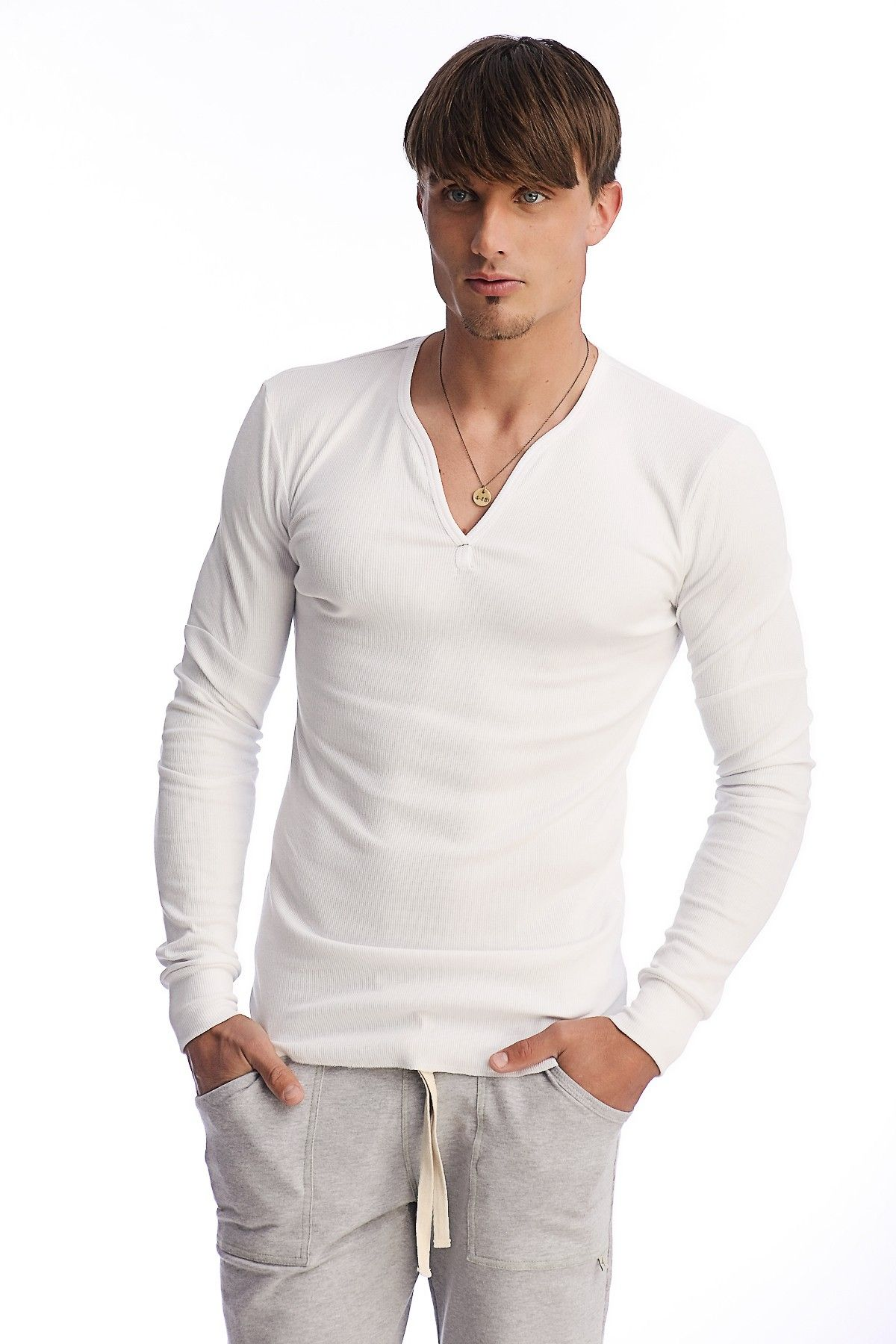 100 Breathable Men S Ribbed Thermal V Neck Long Sleeve Henley White Buy Online For The Price 57 95 At Yoga Eco Clothing Com Mens Thermals Mens Sleeve Men [ 1800 x 1200 Pixel ]