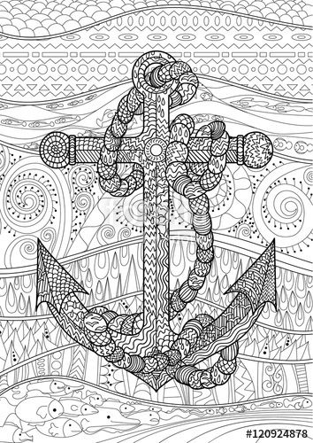 black and white illustration of an anchor coloring page