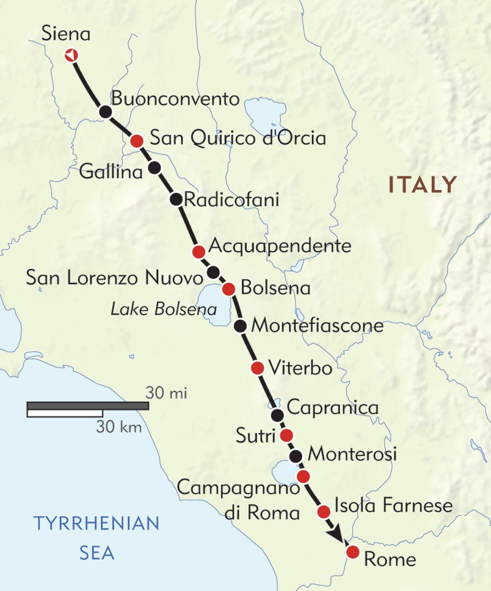 La Via Francigena Route Map Italy Italy Travel Pilgrimage Italy