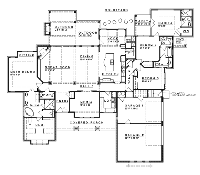 eplans prairie house plan hill country fusion ranch style 3258 square feet and 4 bedrooms from eplans house plan code - House Plans With Attached Casita