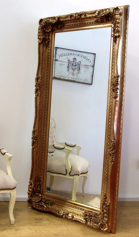 Louis Large Ornate Carved French Frame Wall Leaner Mirror Gold 35