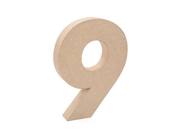 Paper Mache Cardboard 12 Inch Number 9 - Numbers - Nine - Paper