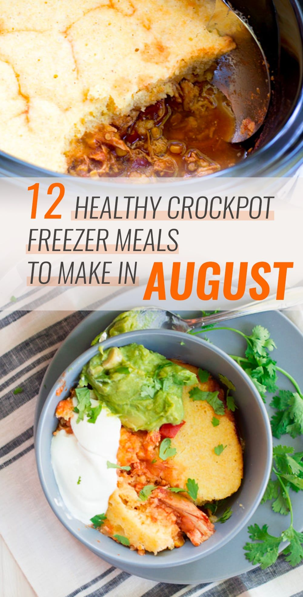 12 Healthy Crockpot Freezer Meals to Make in August #crockpotmeals
