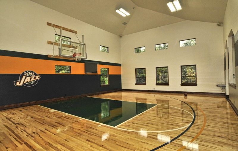 Print Of Indoor Basketball Court Healthy Support For More Private And Fun Exercise Home Basketball Court Home Gym Design Traditional House