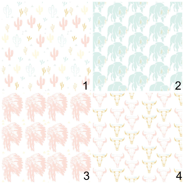 New to LittleBlossomNursery on Etsy: Crib bedding set - pink gold mint - buy a set or items individually - navajo boho themed buffalo indin headress cow skull cactus arrows (29.00 USD)