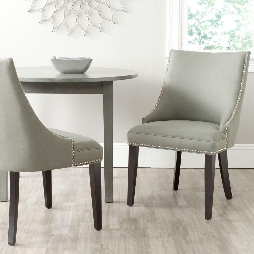 Safavieh En Vogue Dining Afton Granite Linen Fabric Dining Chairs (Set of 2) (MCR4715C-SET2), Grey