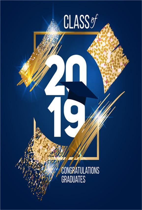 Photo of Navy Blue Gold Graduation  Backdrops Congratulations Background
