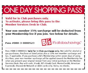 image regarding Bjs One Day Pass Printable identify BJs Wholesale Club - Totally free 1-Working day Browsing P with Coupon