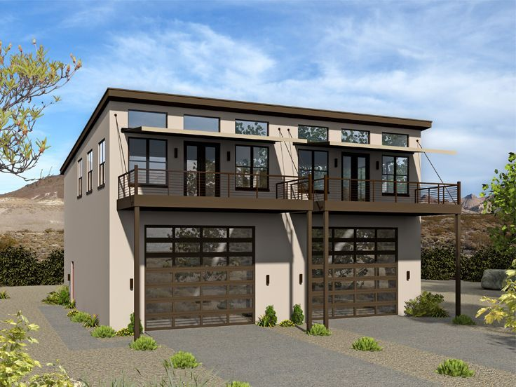 062m 0003 Modern Duplex Carriage House Plan With Rv Garage Carriage House Plans Duplex House Duplex Floor Plans