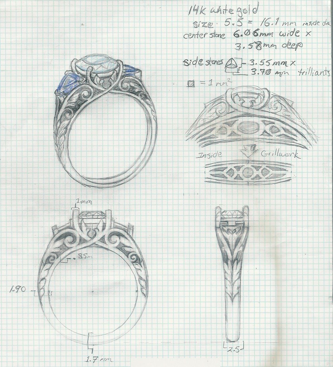 Diamantring gezeichnet  Hand Drawn at the beginning stages of custom designing a ring ...