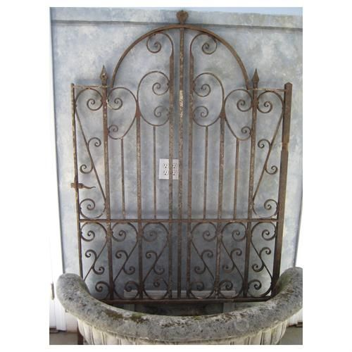 Great Antique English Wrought Iron Gate From The Elemental Garden