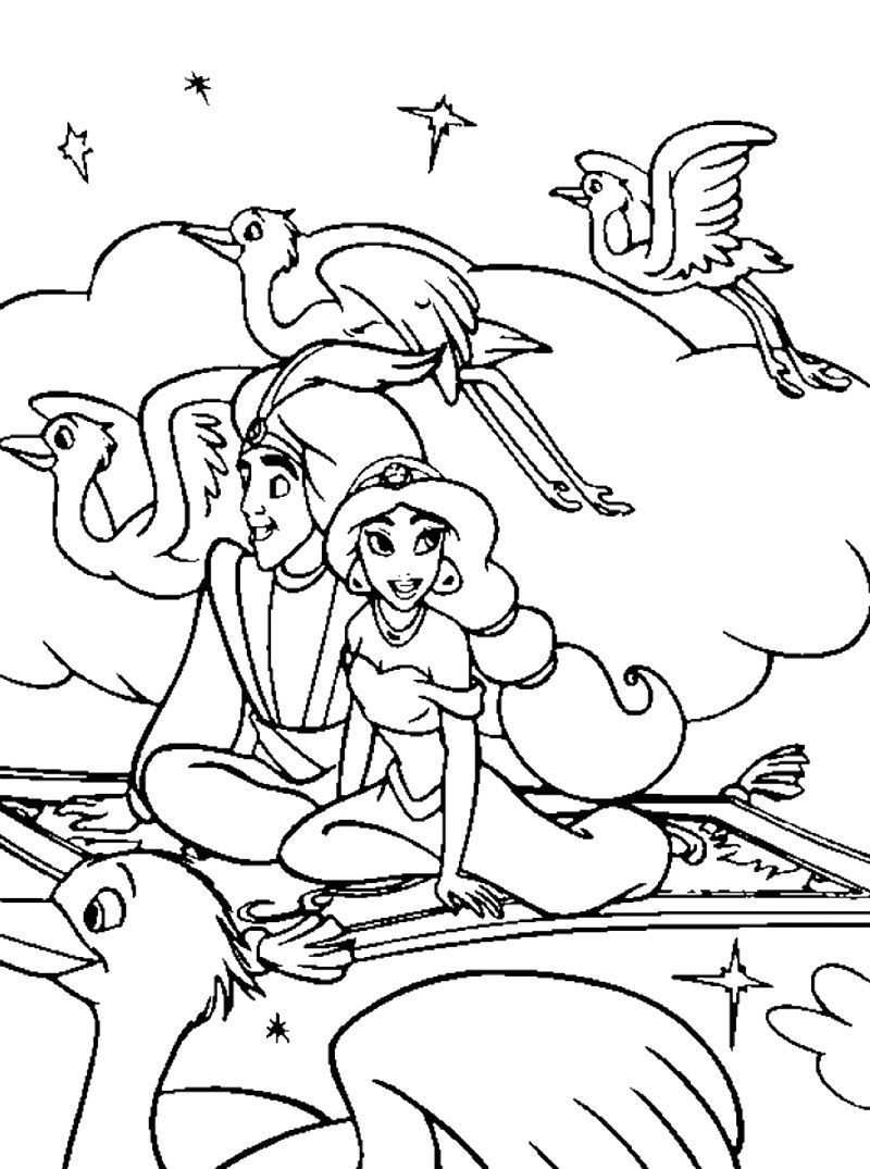 Aladdin And Jasmine Flying With Magic Carpet Coloring Page
