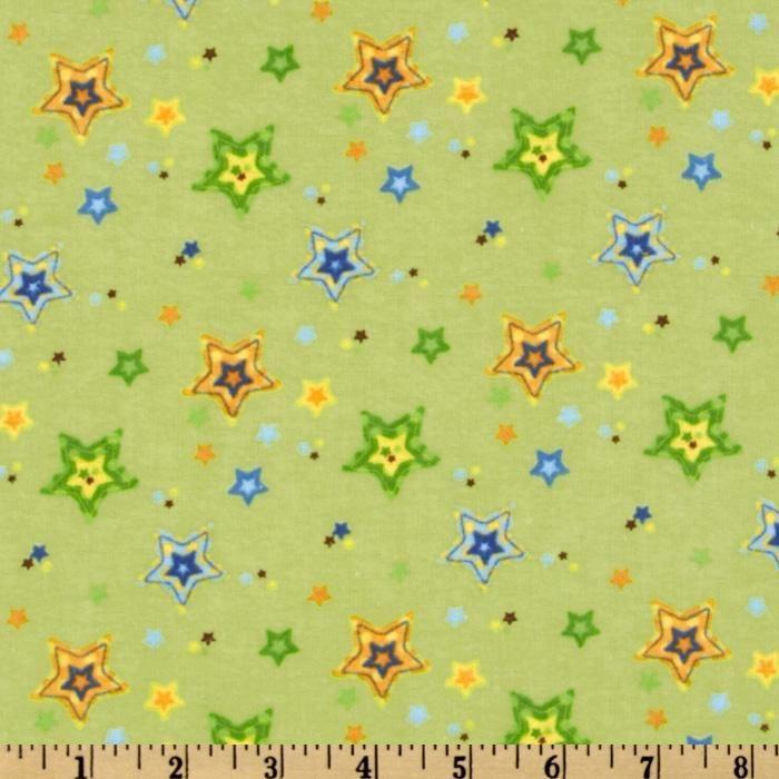 Alpine Sweet Lullaby Flannel Stars Green
