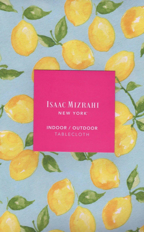 "Amazon.com : Isaac Mizrahi New York Yellow Golden Lemons Fabric Indoor / Outdoor Tablecloth - 70"" Round - : Kitchen & Dining"