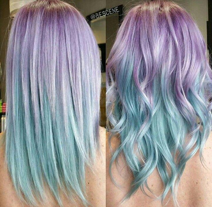 beautiful lavender to aqua ombre hair! ❤