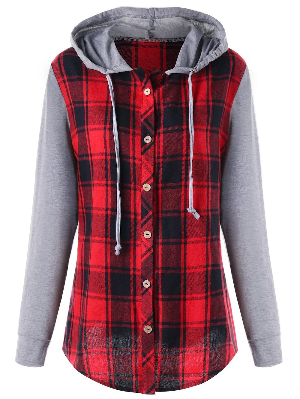 29f8455eacd Plus Size Plaid Panel Long Sleeve Hooded Top - COLORMIX 4XL