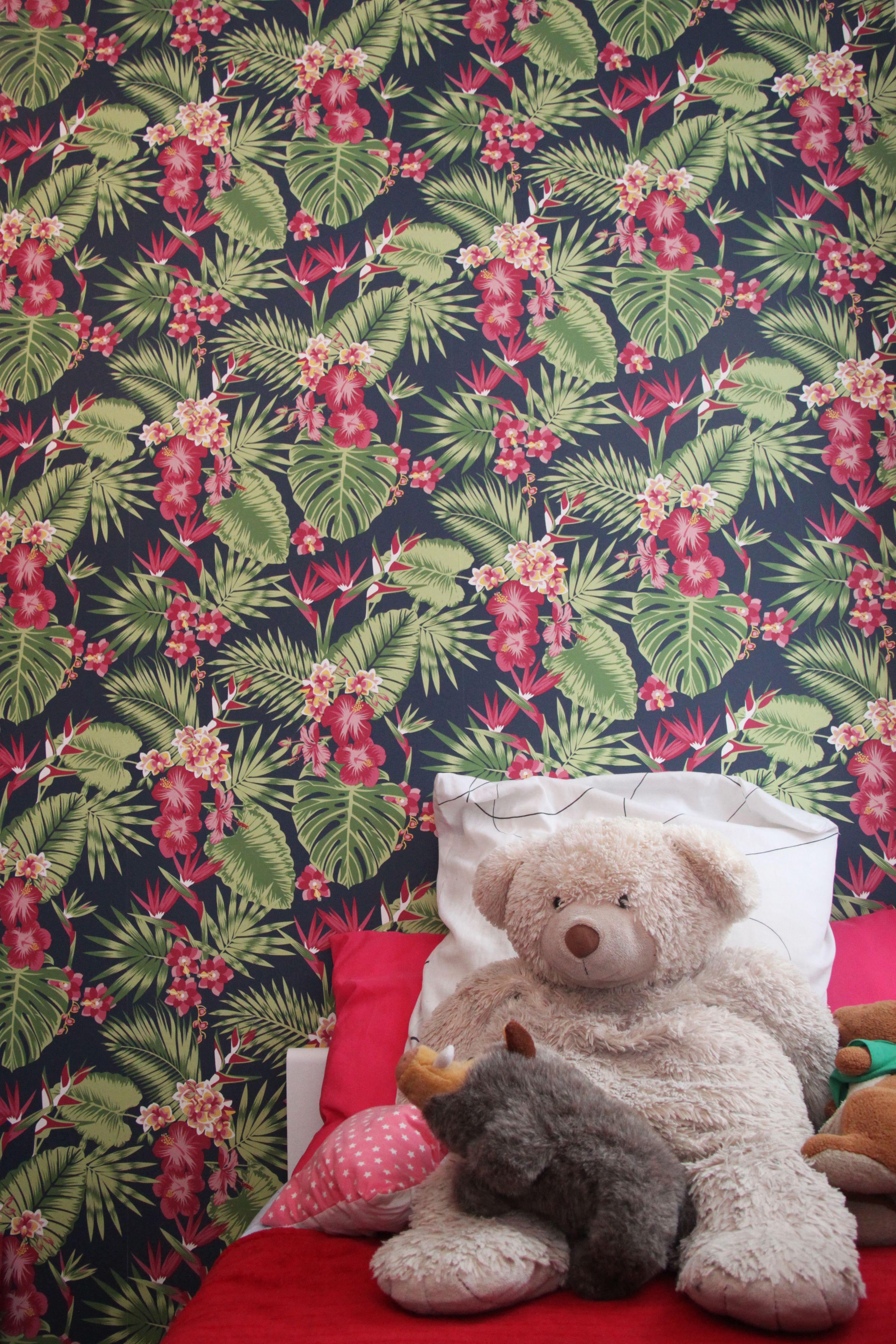 Papier Peint Tropical Rose Vert Noir Dans Chambre Chambres De Koya