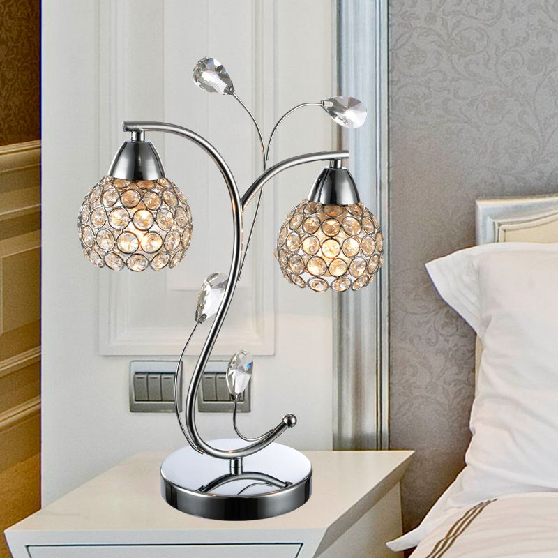 Modern Brief Crystal Table Lamps Sliver Or Gold Color Home Decoration Art Bedside Lamps Study Lighti Crystal Table Lamps Lamps Living Room Beautiful Table Lamp