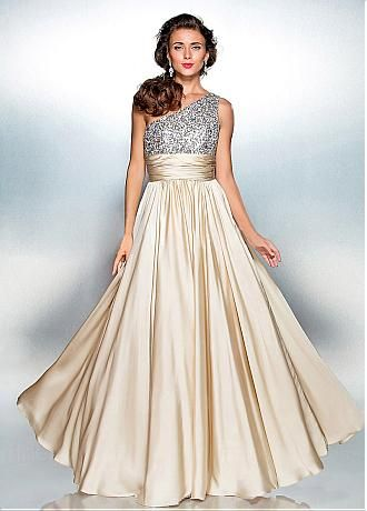 ed90665bfac758 Stunning Sequins Lace   Stretch Satin One-shoulder Neckline A-line Prom  Dresses With