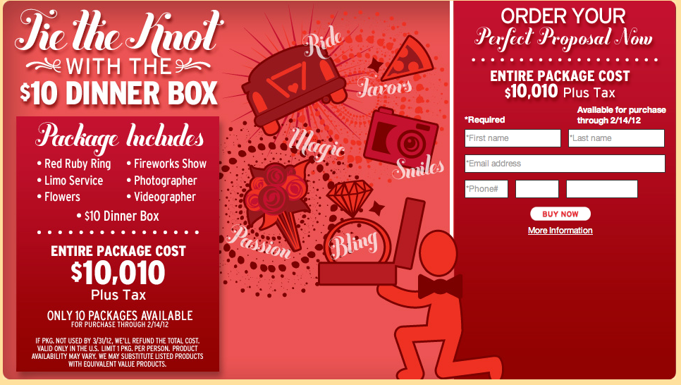 Pizza Hut Proposal Package Pizza Hut Dinner Box Wedding Package