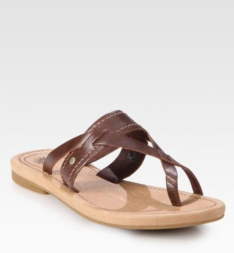 a110691d51d1a Ugg Mireya Leather Toe Ring Sandals in Brown - Lyst
