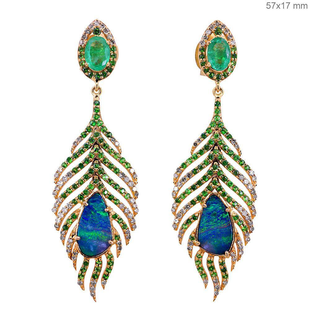Tsavorite Opal Pave Diamond Solid 18 K Rose Gold Pea Feather Dangle Earrings Jewelry