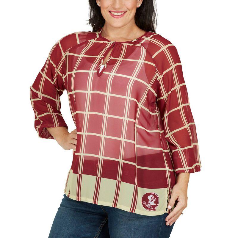 Florida State Seminoles Women's Plus Size Sheer Plaid Tunic - Garnet