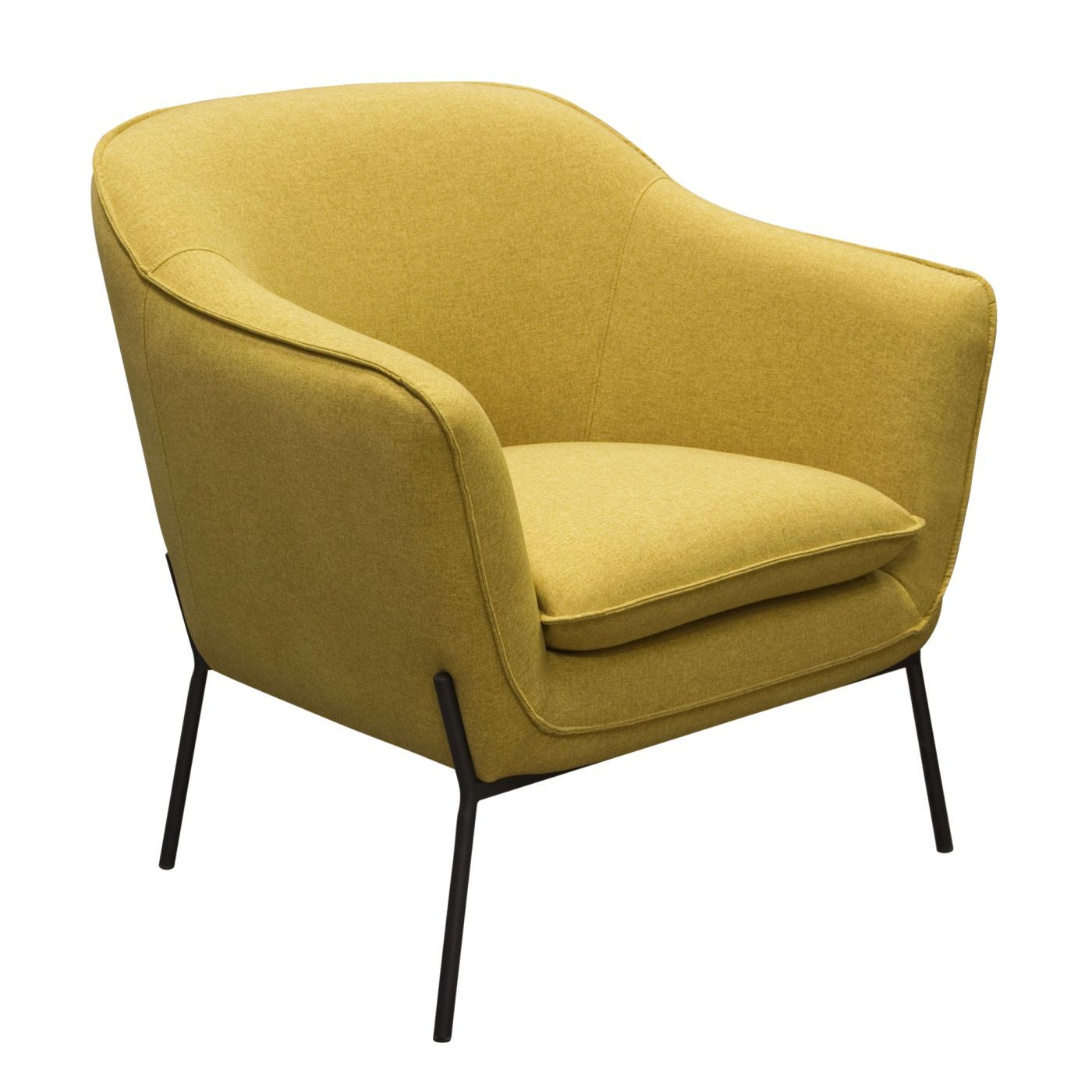 Small Accent Chair With Metal Legs: Status Accent Chair In Yellow Fabric With Metal Leg
