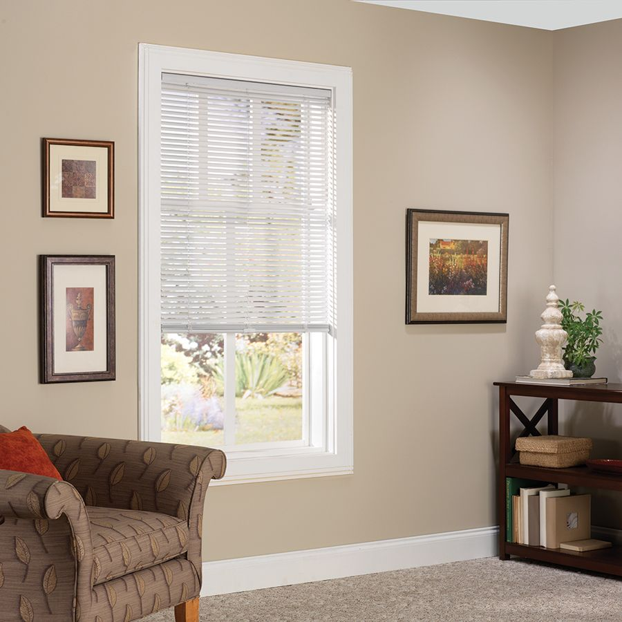 Shop allen + roth 1-in White Vinyl Light Filtering Cordless Mini-Blinds (Common 36-in; Actual: 35.5-in x 64-in) at Lowes.com