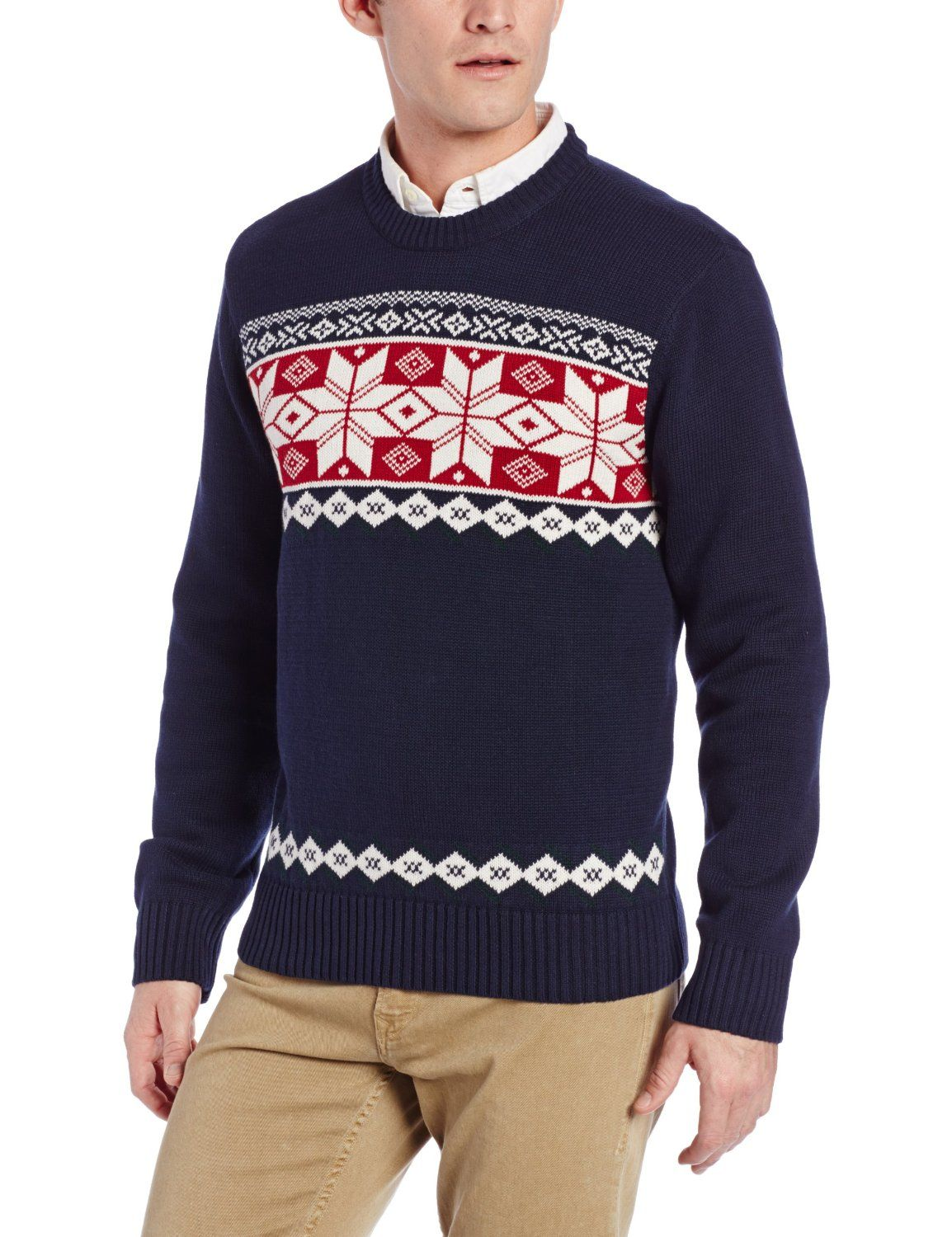 Dockers Men's Multi Snowflake Fairisle Crew Ugly Christmas Sweater ...
