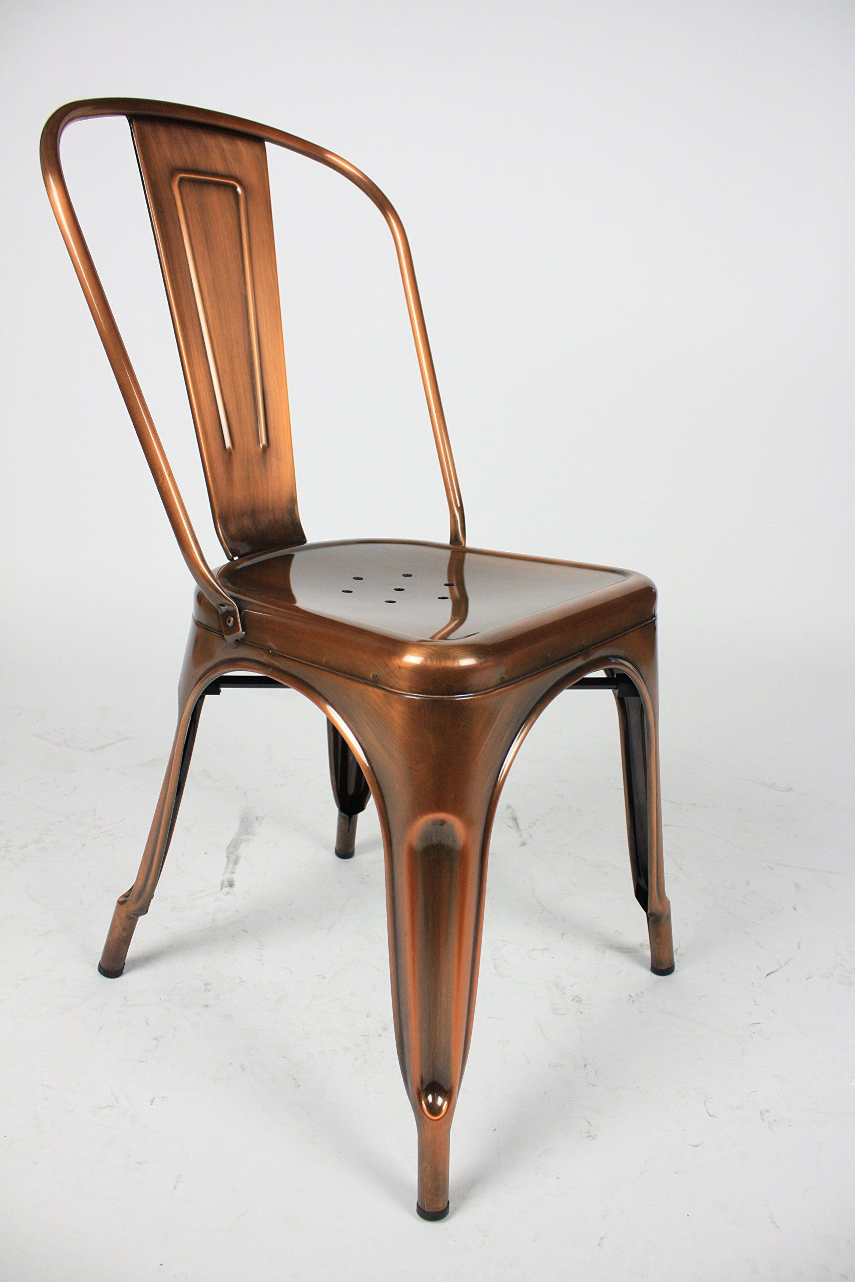 Amazon Com Marais French Style Cafe Dining Chair In Gloss Copper