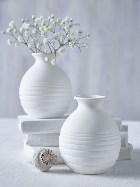Mini White Round Vase Perfect For Sprigs Of Hydrangea Bluebells