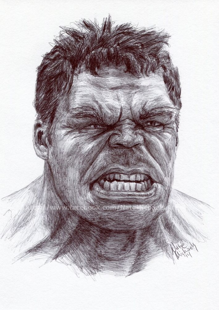 The Hulk The Avengers Age Of Ultron Ink Drawing Portrait