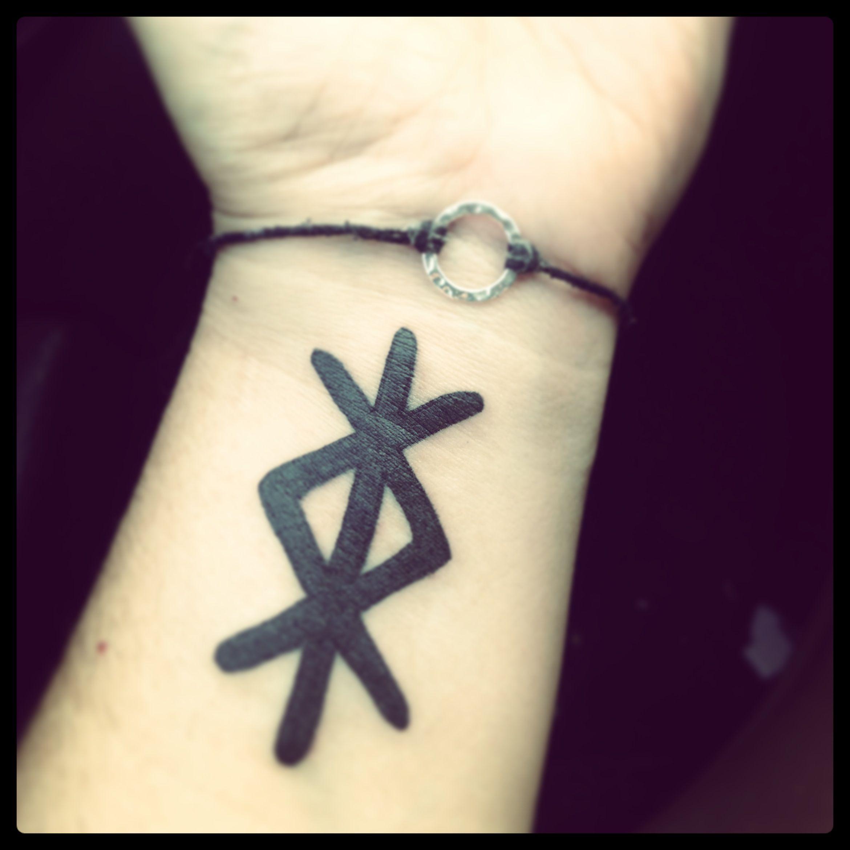 My birthday tattoo a binding rune for inner strength for Viking rune tattoos