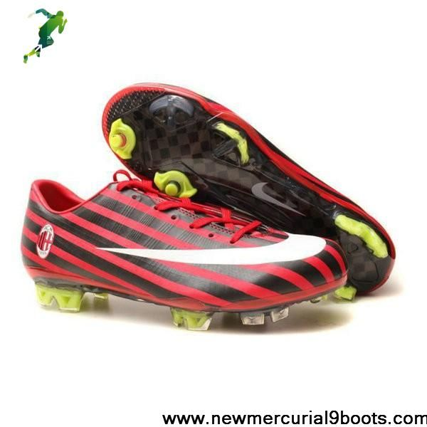 Sale Cheap Nike Mercurial Vapor FG AC Milan red black Soccer Shoes Shop