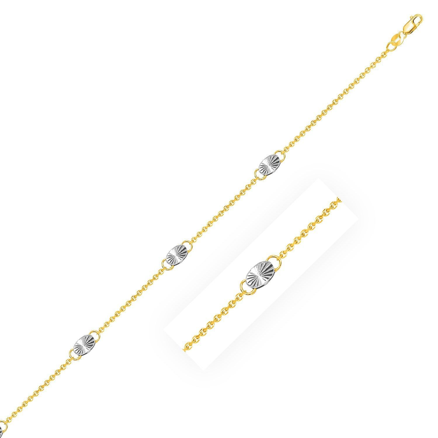 14K Two-Tone Gold Cable Chain Anklet with Diamond Cut Oval Stations
