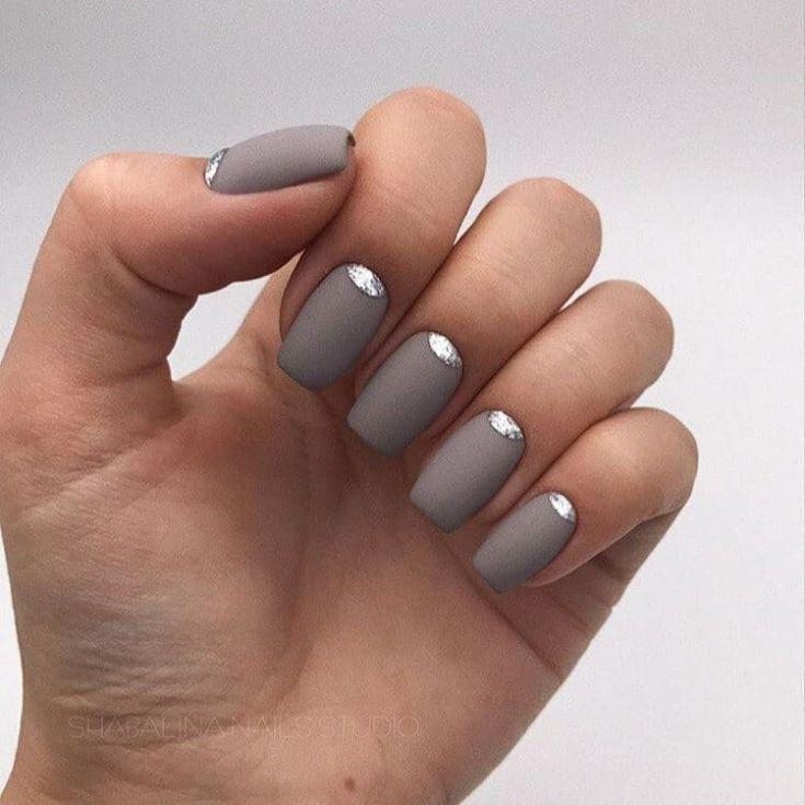 Модный серый матовый маникюр 59 фото | Модный дизайн ...