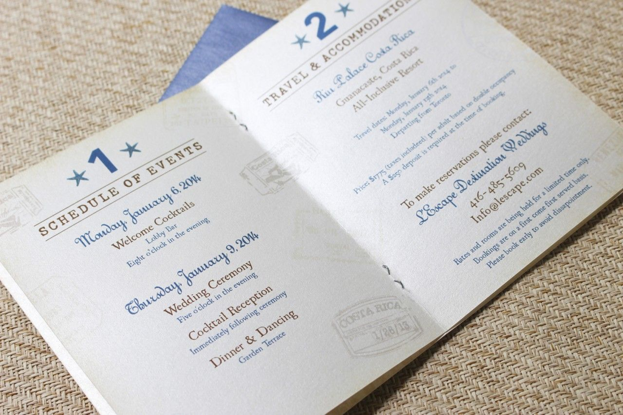 Vintage Journey of Love Passport Wedding Invitation (Guanacaste ...