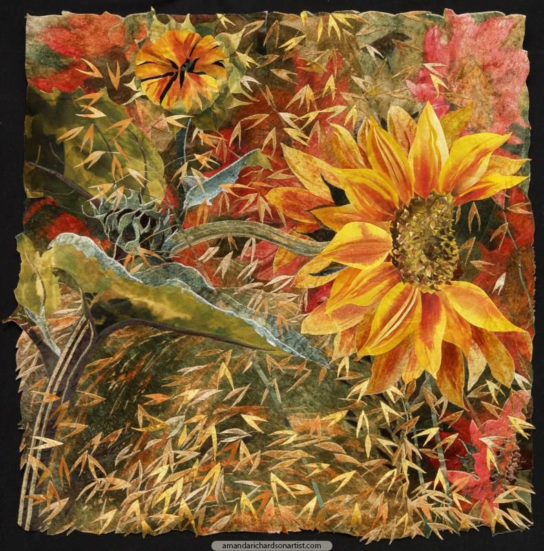 Textile Art | Sunflower with Stipa Gigantea | Amanda Richardson Artist - Some individual sunflowers have irresistibly sculptural qualities.
