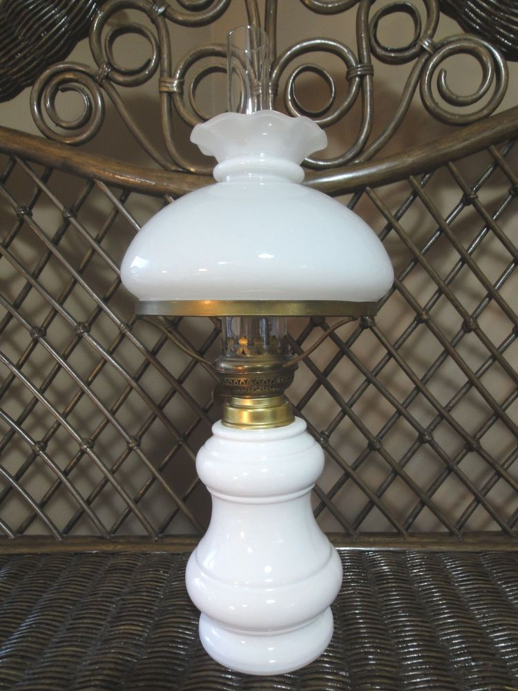 Elegant White Milk Glass Brass Trim Oil Lamp 20 High Oil Lamps White Milk Glass Milk Glass
