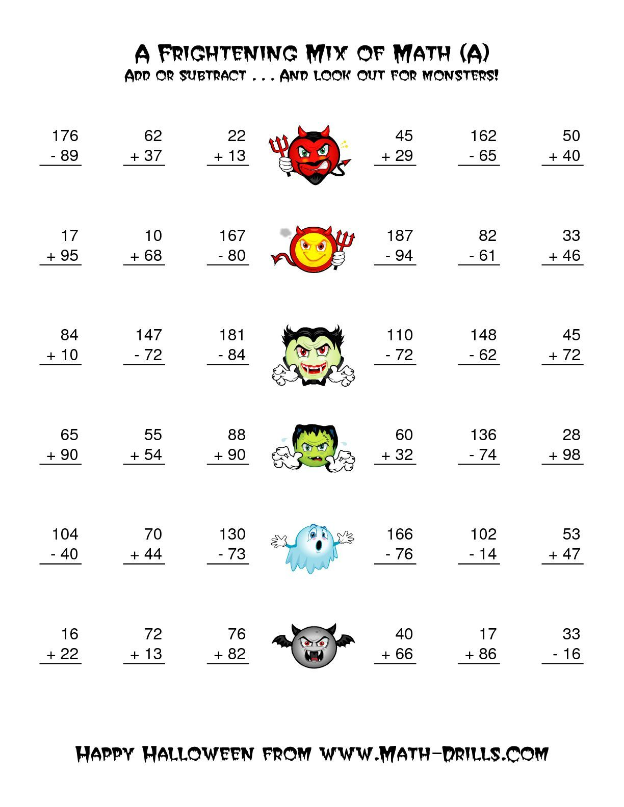 The Two Digit Addition And Subtraction With Monsters A Math Worksheet From The Halloween Math Wo Halloween Math Worksheets Halloween Math Addition Worksheets
