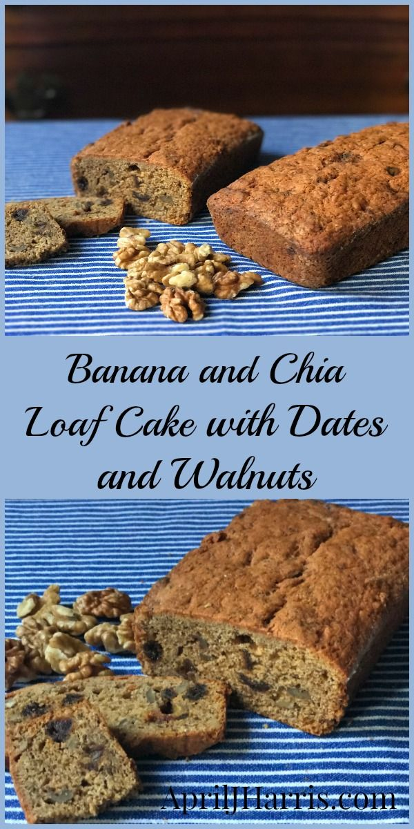A healthier treat recipe using ingredients from @indigoherbs  - Banana and Chia Loaf Cake with Dates and Walnuts #ad