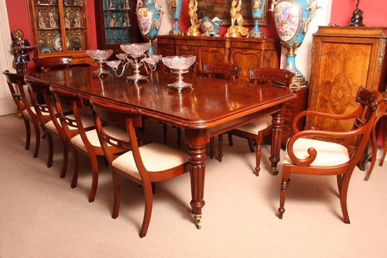An Absolutely Fantastic English Made Extendable Regency Style Dining Room Table With Ten Matchi Mahogany Dining Table Antique Dining Room Sets Dining Room Sets