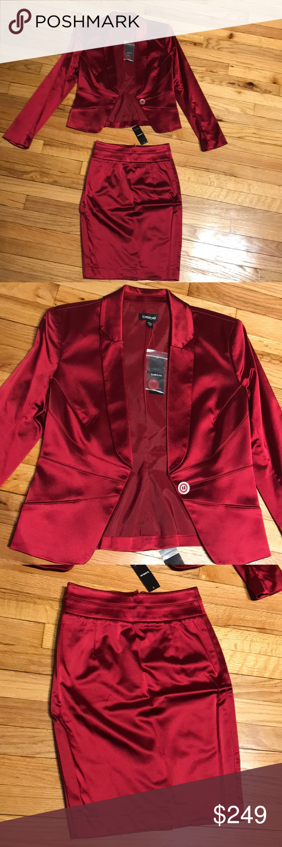 4e57a0ebfa Hot🔥Beautiful Elegant set 2 piece skirt suit red Beautiful set 2 pieces  skirt suit scarlet red shiny satin stretch sz 4 Bebe / pencil skirt bebe  Skirts ...