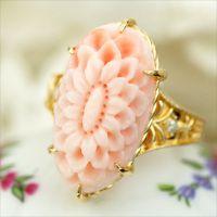 「花の宴」深海珊瑚×ダイヤモンド リング