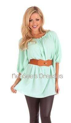 Mint Belted Blouse   Cute Spring Boutique Clothing   Trendy Modest Clothing