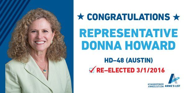 Tuesday was a great day for champion of #healthcare and #education Rep. @DonnaHowardTX http://bit.ly/3-1Winners